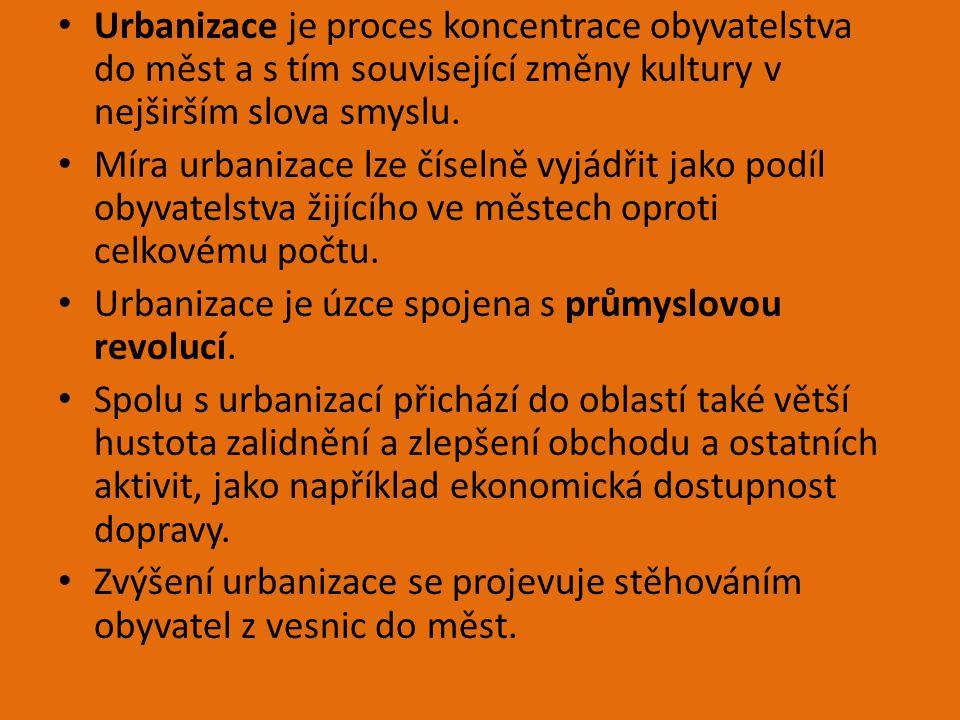 Urbanizace je proces koncentrace obyvatelstva do měst a s tím související změny kultury v nejširším slova smyslu. Míra urbanizace lze číselně vyjádřit