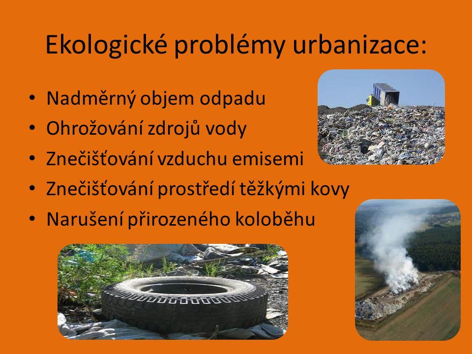 Ekologické problémy urbanizace: Nadměrný objem odpadu Ohrožování zdrojů vody Znečišťování vzduchu emisemi Znečišťování prostředí těžkými kovy Narušení