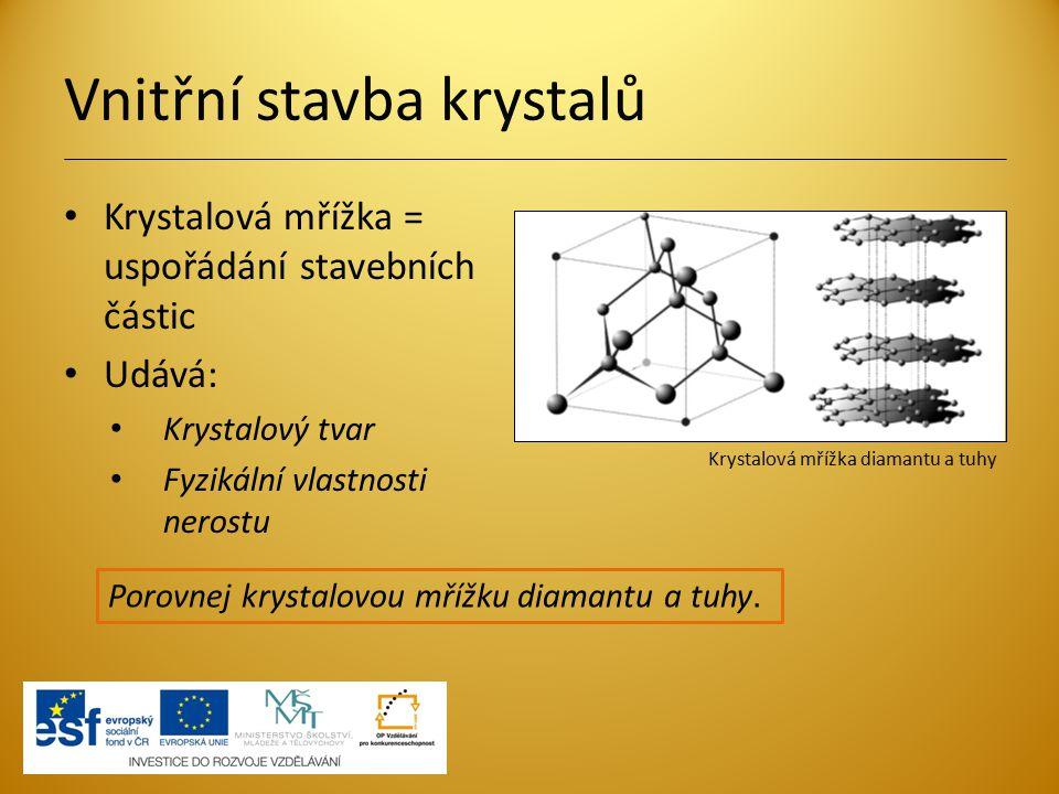 Vnitřní stavba krystalů Krystalová mřížka = uspořádání stavebních částic Udává: Krystalový tvar Fyzikální vlastnosti nerostu Porovnej krystalovou mříž