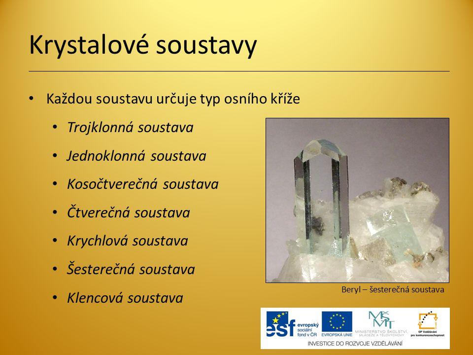 Krystalové soustavy Každou soustavu určuje typ osního kříže Trojklonná soustava Jednoklonná soustava Kosočtverečná soustava Čtverečná soustava Krychlo