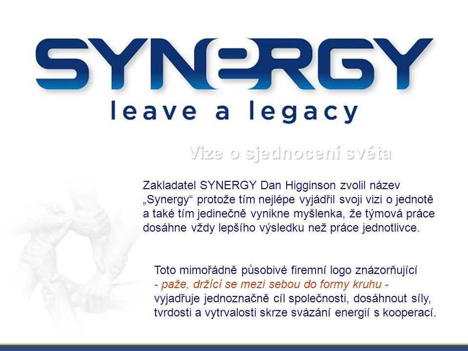 """Zakladatel SYNERGY Dan Higginson zvolil název """"Synergy protože tím nejlépe vyjádřil svoji vizi o jednotě a také tím jedinečně vynikne myšlenka, že týmová práce dosáhne vždy lepšího výsledku než práce jednotlivce."""