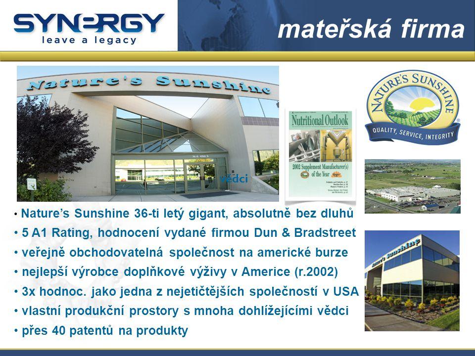 Nature's Sunshine 36-ti letý gigant, absolutně bez dluhů 5 A1 Rating, hodnocení vydané firmou Dun & Bradstreet veřejně obchodovatelná společnost na americké burze nejlepší výrobce doplňkové výživy v Americe (r.2002) 3x hodnoc.