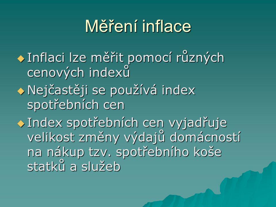 Měření inflace  Inflaci lze měřit pomocí různých cenových indexů  Nejčastěji se používá index spotřebních cen  Index spotřebních cen vyjadřuje veli