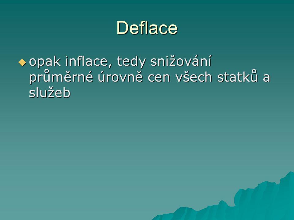 Deflace  opak inflace, tedy snižování průměrné úrovně cen všech statků a služeb