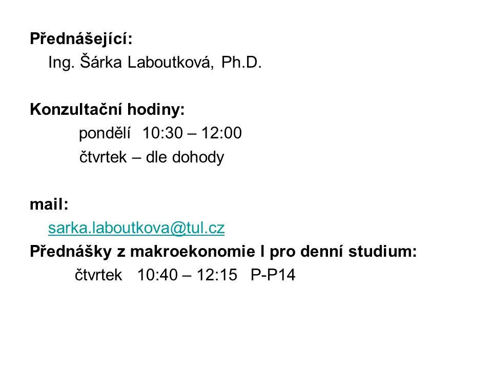 Přednášející: Ing. Šárka Laboutková, Ph.D. Konzultační hodiny: pondělí 10:30 – 12:00 čtvrtek – dle dohody mail: sarka.laboutkova@tul.cz Přednášky z ma