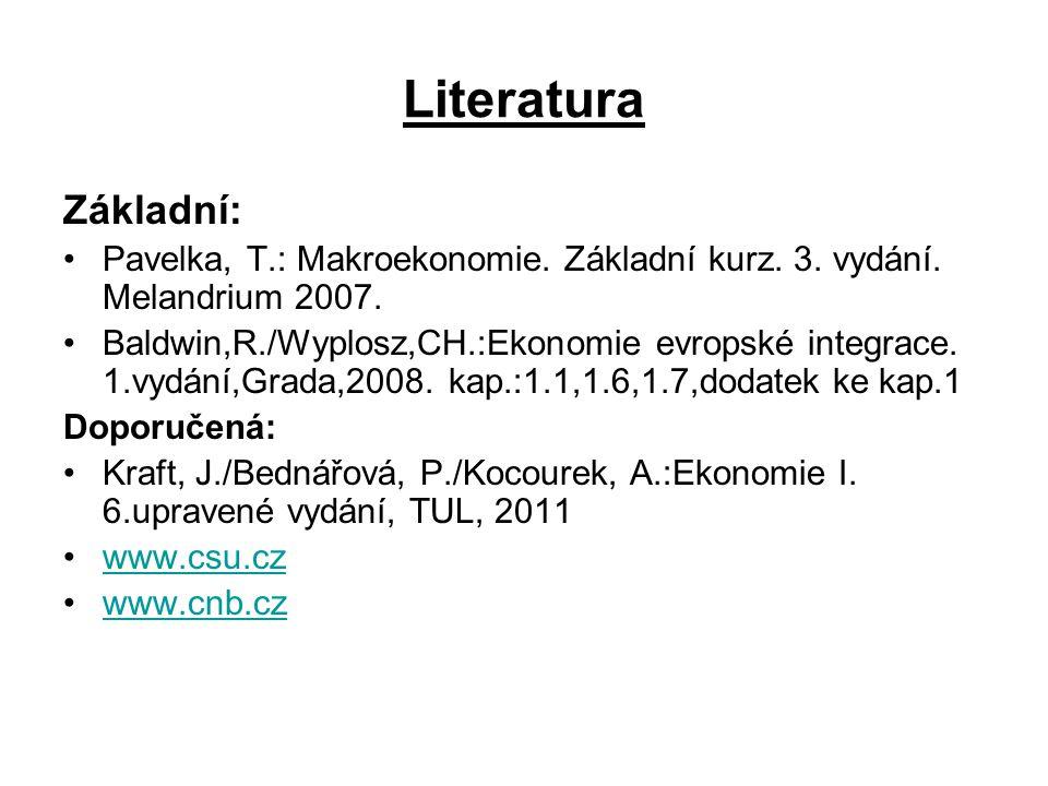 Literatura Základní: Pavelka, T.: Makroekonomie. Základní kurz. 3. vydání. Melandrium 2007. Baldwin,R./Wyplosz,CH.:Ekonomie evropské integrace. 1.vydá
