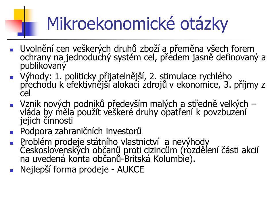 Mikroekonomické otázky Výhody uvedeného způsobu tvorby, distribuce, a prodeje akcií: - Umožňuje dosáhnout nejvyšší prodejní ceny - Podporuje vytvoření akciové burzy - Další příjem občanů – příjem z kapitálu - Spravedlivé rozdělení národního majetku  Zavedení manažerské autonomie  Kapitálový trh: vytvoření sítě navzájem si konkurujících komerčních bank (nesmí být spojeny s výkonností určitých podniků a nutnost přijetí běžných metod hodnocení efektivnosti investičních projektů),  Organizace účasti zahraničních bank a investorů