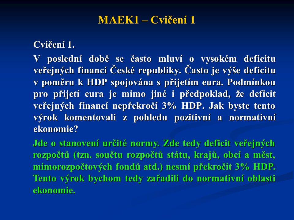 MAEK1 – Cvičení 1 Cvičení 1. V poslední době se často mluví o vysokém deficitu veřejných financí České republiky. Často je výše deficitu v poměru k HD