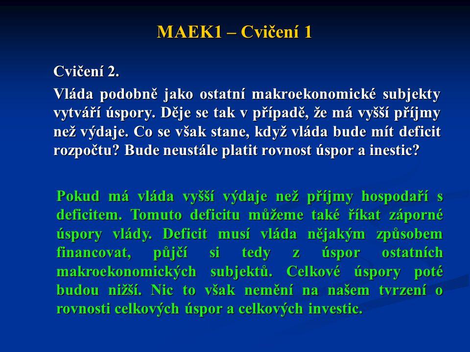 MAEK1 – Cvičení 1 Cvičení 2. Vláda podobně jako ostatní makroekonomické subjekty vytváří úspory. Děje se tak v případě, že má vyšší příjmy než výdaje.