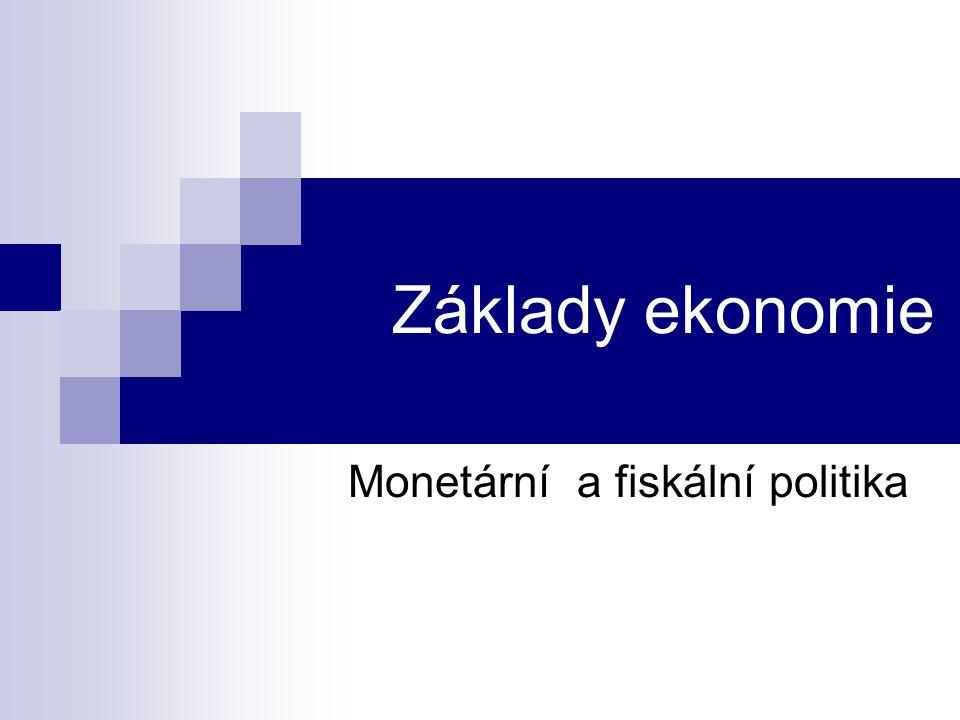 Monetární politika - cíle a nástroje Monetární politika = působení na hospodářství z pozice centrální banky Cíl: jako podpora a doplněk k fiskální politice → ↑S M → ↓i → ↑I → ↑AD → ↑Y → ↓UNE (keynesiánský přístup) řídit peněžní zásobu s cílem cenové stability →↑M = ↑Y* (monetaristický přístup)