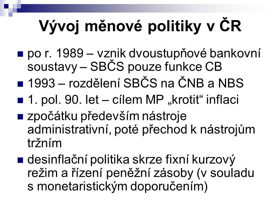 Vývoj měnové politiky v ČR po r. 1989 – vznik dvoustupňové bankovní soustavy – SBČS pouze funkce CB 1993 – rozdělení SBČS na ČNB a NBS 1. pol. 90. let