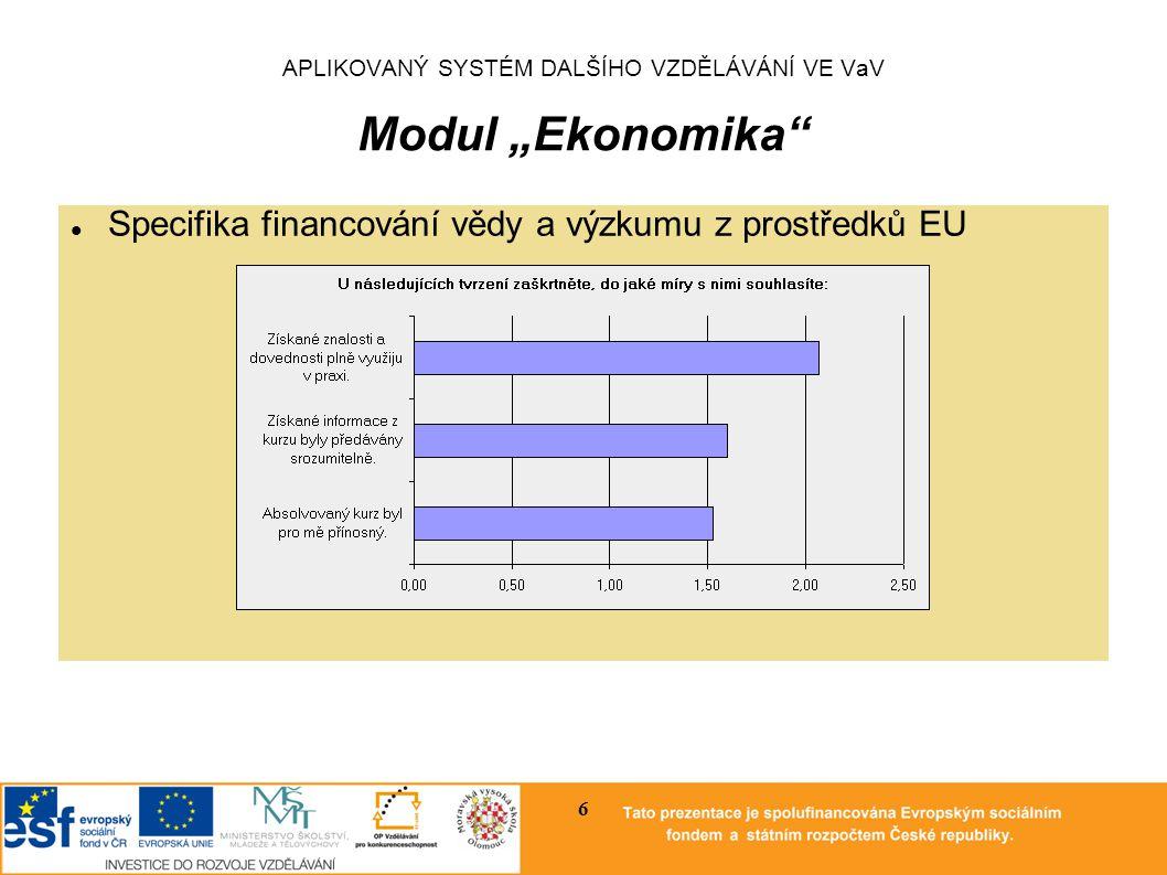 """APLIKOVANÝ SYSTÉM DALŠÍHO VZDĚLÁVÁNÍ VE VaV Modul """"Ekonomika Měnově politické otázky financování vědy a výzkumu 7"""