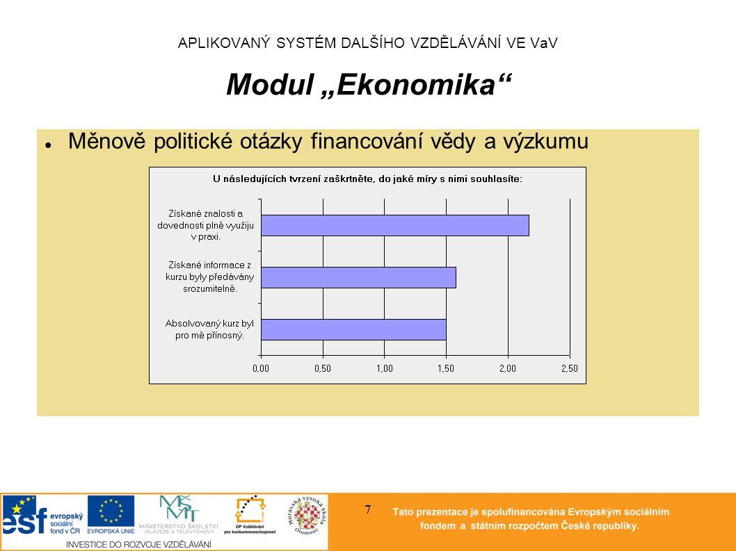 """APLIKOVANÝ SYSTÉM DALŠÍHO VZDĚLÁVÁNÍ VE VaV Modul """"Ekonomika Osnova """"Ekonomie vědy a výzkumu Základní pojmy z ekonomie: mikroekonomie a makroekonomie Způsoby zasahování státu do ekonomiky, nástroje hospodářské politiky Ekonomický růst a ekonomická rovnováha, modely ekonomického růstu a úloha vědy a výzkumu v modelech ekonomického růstu Makroekonomický rozměr problematiky vědy a výzkumu Mikroekonomický rozměr problematiky vědy a výzkumu Podpora vědy a výzkumu formou fiskální politiky, jiné způsoby stimulace vědy a výzkumu Mezinárodní srovnání podpory a výsledků vědy a výzkumu Podíl high-tech na hrubém domácím produktu 8"""