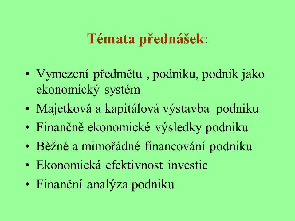 Ekonomika podniků garant Doc.Ing.Eva Rosochatecká, CSc.