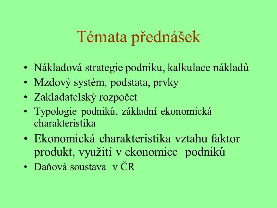 Témata přednášek : Vymezení předmětu, podniku, podnik jako ekonomický systém Majetková a kapitálová výstavba podniku Finančně ekonomické výsledky podniku Běžné a mimořádné financování podniku Ekonomická efektivnost investic Finanční analýza podniku