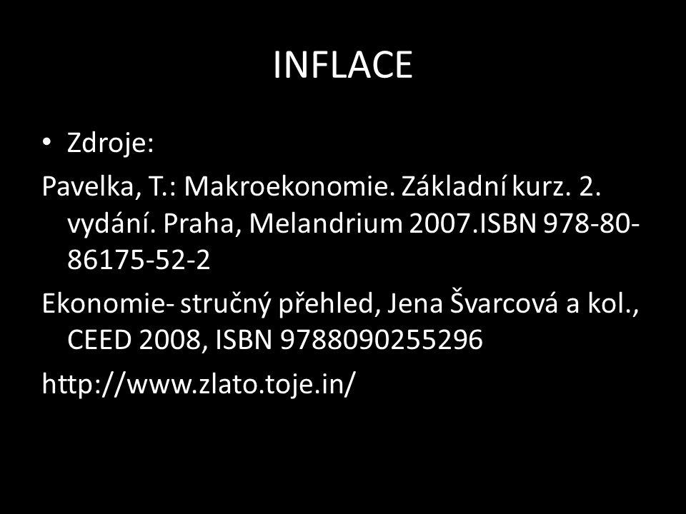 INFLACE Zdroje: Pavelka, T.: Makroekonomie. Základní kurz.