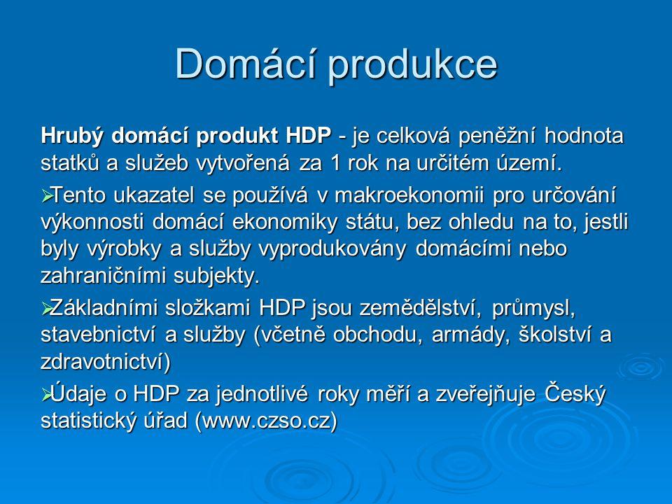 Domácí produkce Hrubý domácí produkt HDP - je celková peněžní hodnota statků a služeb vytvořená za 1 rok na určitém území.