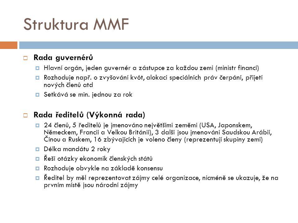 Struktura MMF  Rada guvernérů  Hlavní orgán, jeden guvernér a zástupce za každou zemi (ministr financí)  Rozhoduje např.