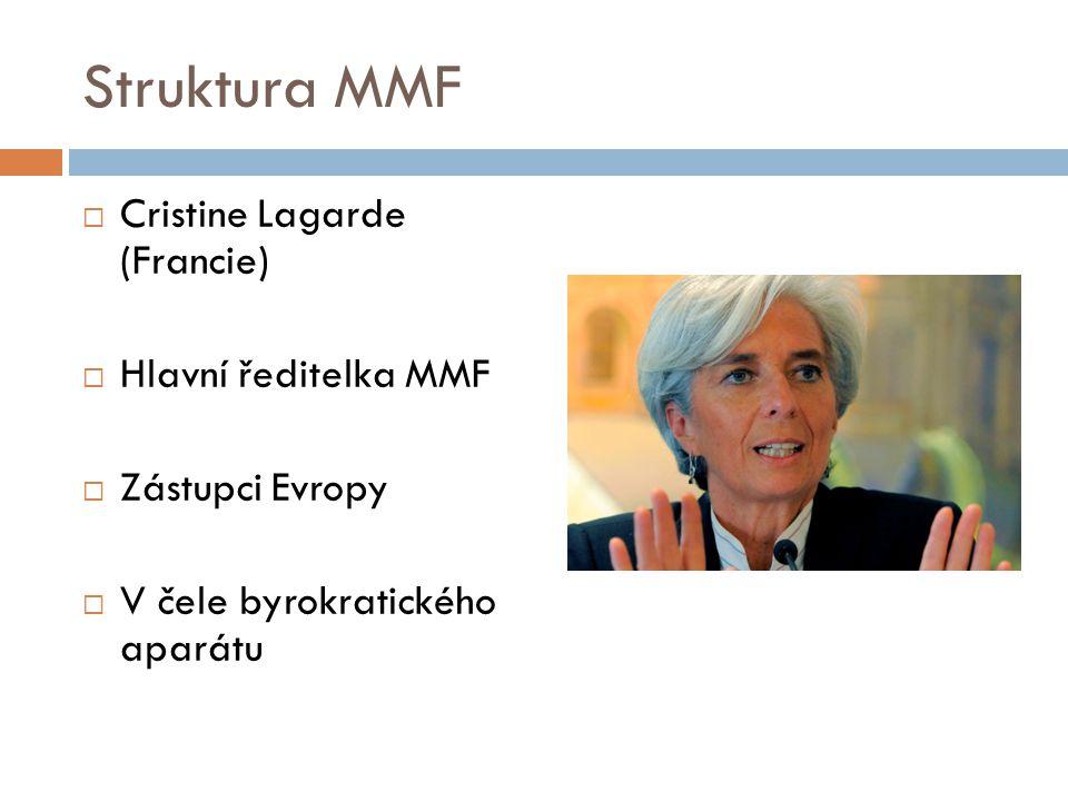 Struktura MMF  Cristine Lagarde (Francie)  Hlavní ředitelka MMF  Zástupci Evropy  V čele byrokratického aparátu