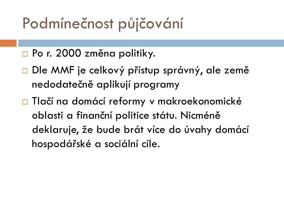 Podmínečnost půjčování  Po r. 2000 změna politiky.