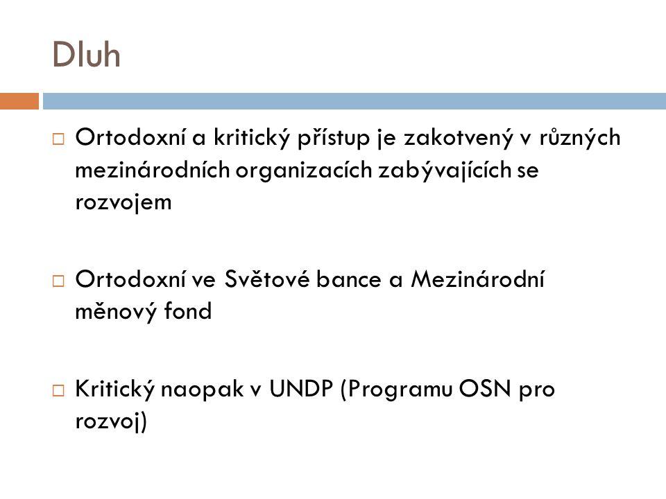 Dluh  Ortodoxní a kritický přístup je zakotvený v různých mezinárodních organizacích zabývajících se rozvojem  Ortodoxní ve Světové bance a Mezinárodní měnový fond  Kritický naopak v UNDP (Programu OSN pro rozvoj)