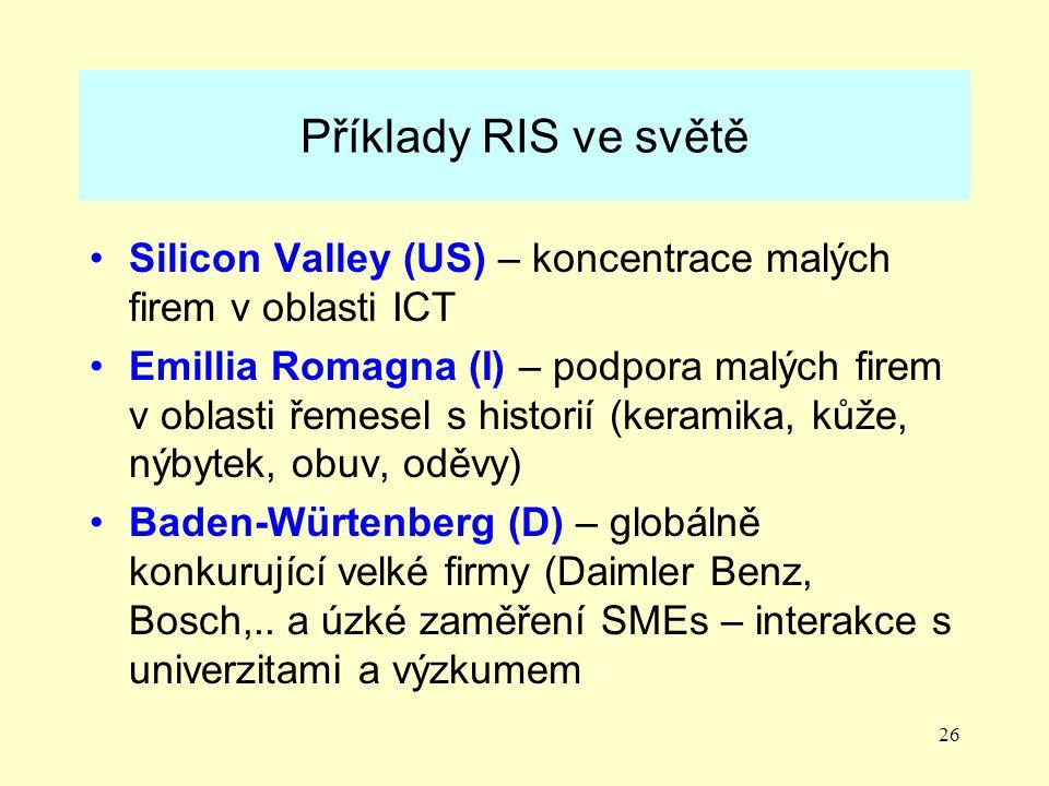26 Příklady RIS ve světě Silicon Valley (US) – koncentrace malých firem v oblasti ICT Emillia Romagna (I) – podpora malých firem v oblasti řemesel s historií (keramika, kůže, nýbytek, obuv, oděvy) Baden-Würtenberg (D) – globálně konkurující velké firmy (Daimler Benz, Bosch,..