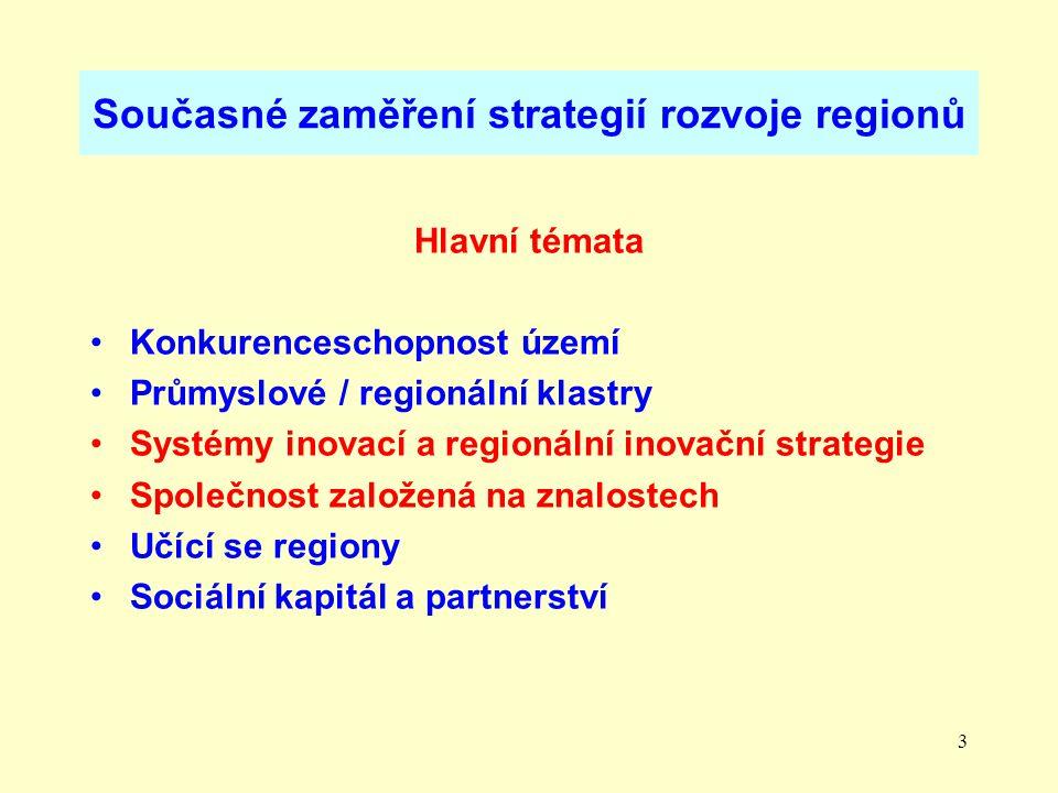 3 Současné zaměření strategií rozvoje regionů Hlavní témata Konkurenceschopnost území Průmyslové / regionální klastry Systémy inovací a regionální inovační strategie Společnost založená na znalostech Učící se regiony Sociální kapitál a partnerství