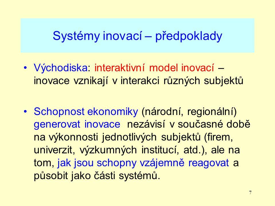 7 Systémy inovací – předpoklady Východiska: interaktivní model inovací – inovace vznikají v interakci různých subjektů Schopnost ekonomiky (národní, regionální) generovat inovace nezávisí v současné době na výkonnosti jednotlivých subjektů (firem, univerzit, výzkumných institucí, atd.), ale na tom, jak jsou schopny vzájemně reagovat a působit jako části systémů.
