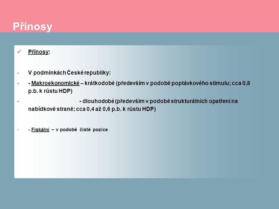 Přínosy Přínosy: -V podmínkách České republiky: -- Makroekonomické – krátkodobé (především v podobě poptávkového stimulu; cca 0,8 p.b. k růstu HDP) -