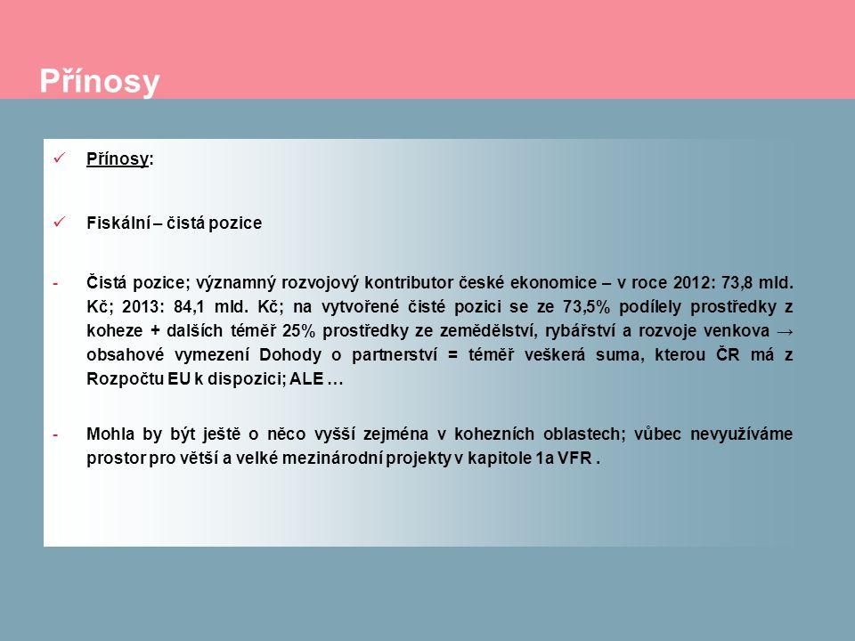Přínosy Přínosy: Fiskální – čistá pozice -Čistá pozice; významný rozvojový kontributor české ekonomice – v roce 2012: 73,8 mld. Kč; 2013: 84,1 mld. Kč