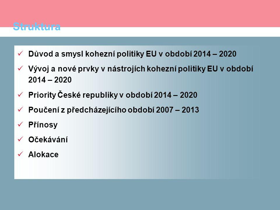 Struktura Důvod a smysl kohezní politiky EU v období 2014 – 2020 Vývoj a nové prvky v nástrojích kohezní politiky EU v období 2014 – 2020 Priority České republiky v období 2014 – 2020 Poučení z předcházejícího období 2007 – 2013 Přínosy Očekávání Alokace