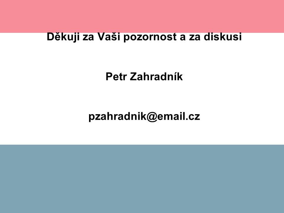 Děkuji za Vaši pozornost a za diskusi Petr Zahradník pzahradnik@email.cz