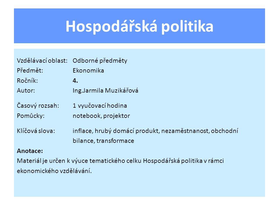 Transformace ekonomiky 1990-2011 K makroekonomickému hodnocení lze použít pomůcku – magický čtyřúhelník.