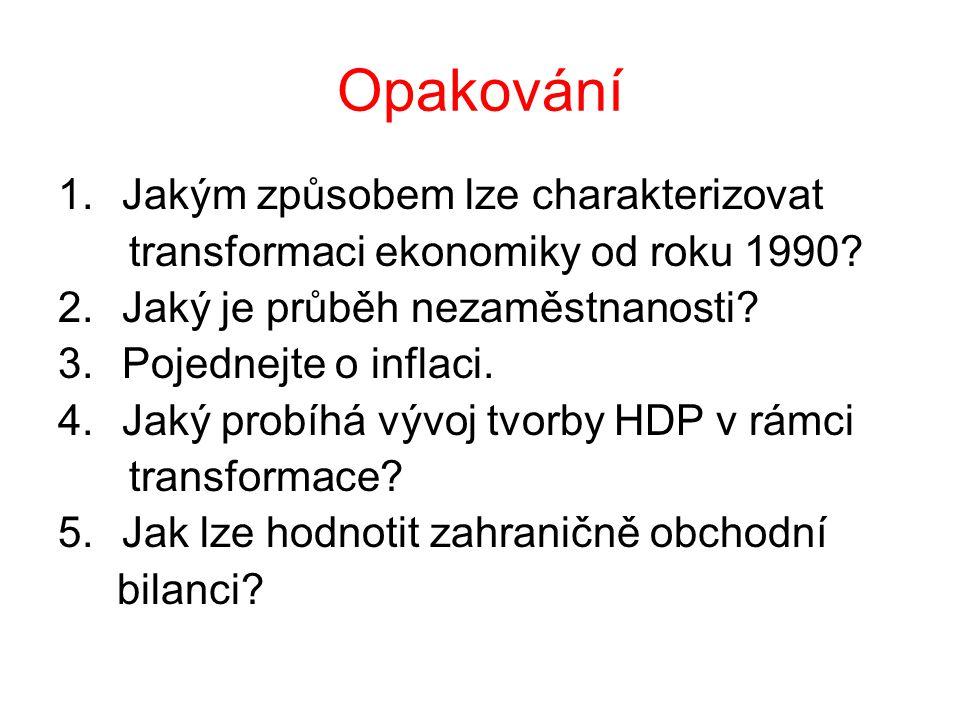 Opakování 1.Jakým způsobem lze charakterizovat transformaci ekonomiky od roku 1990? 2.Jaký je průběh nezaměstnanosti? 3.Pojednejte o inflaci. 4.Jaký p