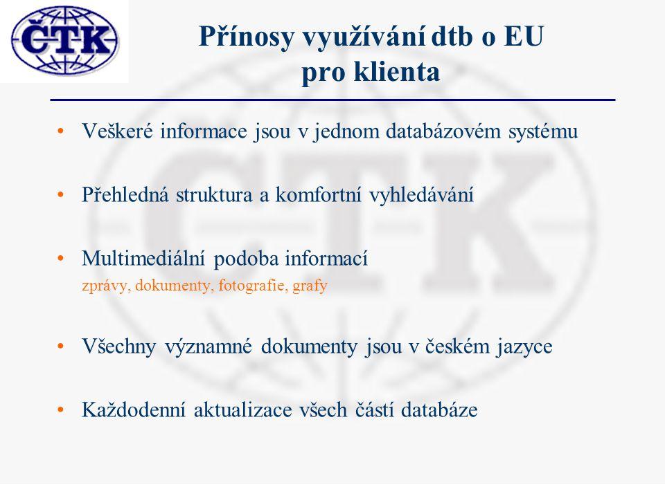 Přínosy využívání dtb o EU pro klienta Veškeré informace jsou v jednom databázovém systému Přehledná struktura a komfortní vyhledávání Multimediální podoba informací zprávy, dokumenty, fotografie, grafy Všechny významné dokumenty jsou v českém jazyce Každodenní aktualizace všech částí databáze