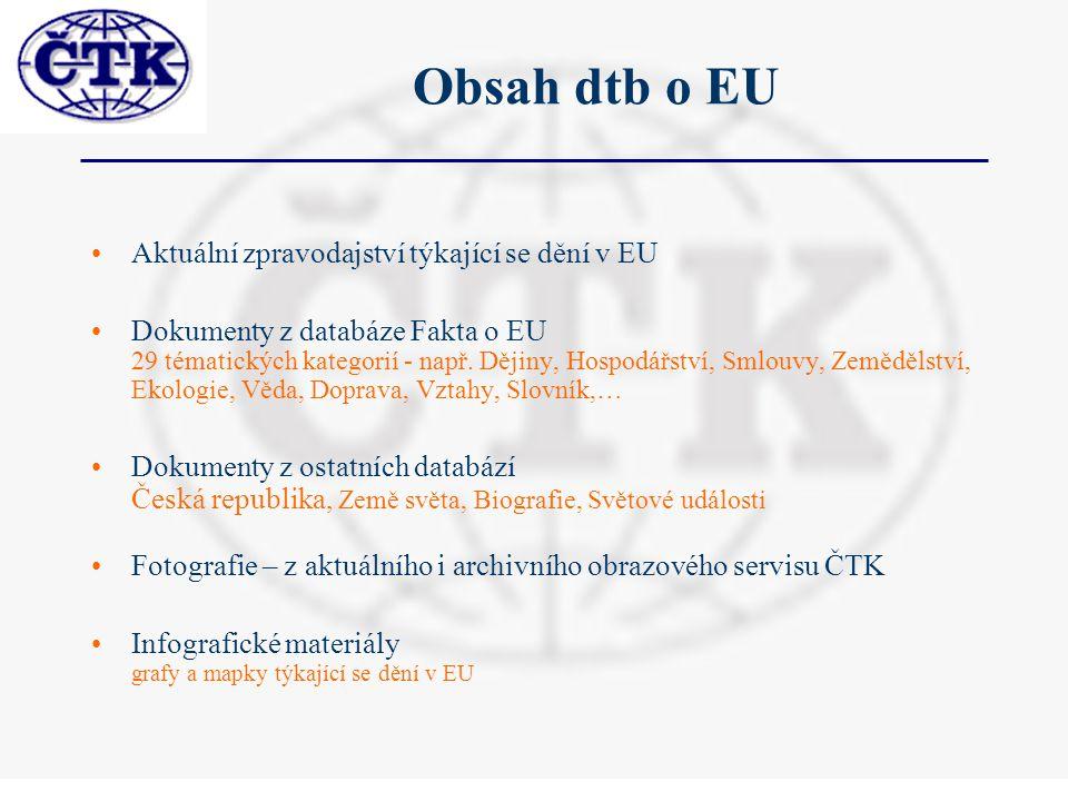 Obsah dtb o EU Aktuální zpravodajství týkající se dění v EU Dokumenty z databáze Fakta o EU 29 tématických kategorií - např.