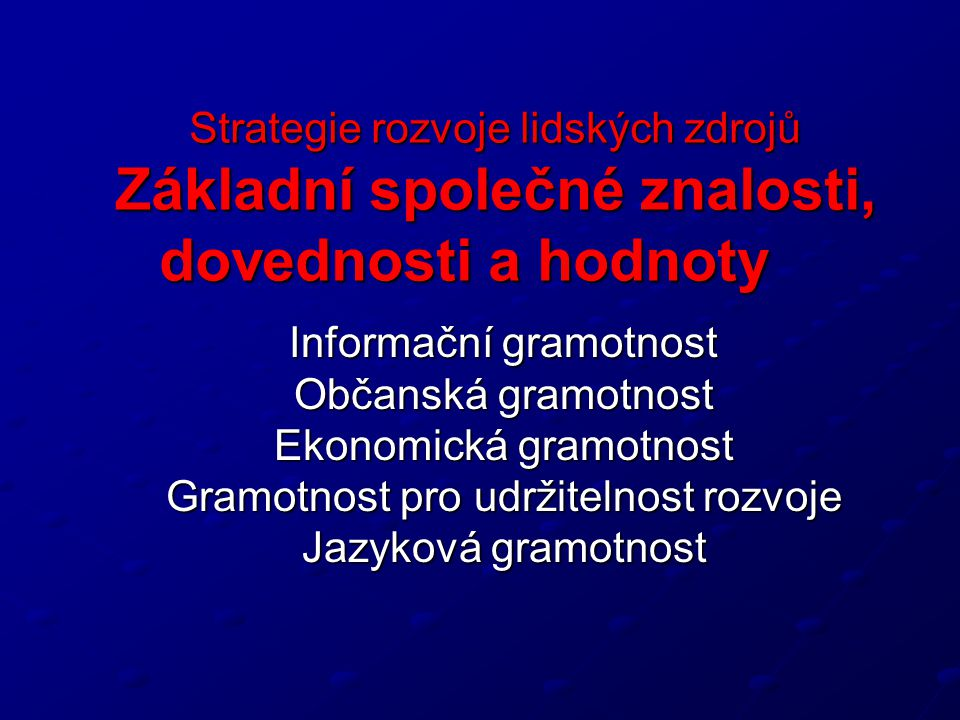 Strategie rozvoje lidských zdrojů Základní společné znalosti, dovednosti a hodnoty Informační gramotnost Informační gramotnost Občanská gramotnost Ekonomická gramotnost Gramotnost pro udržitelnost rozvoje Jazyková gramotnost