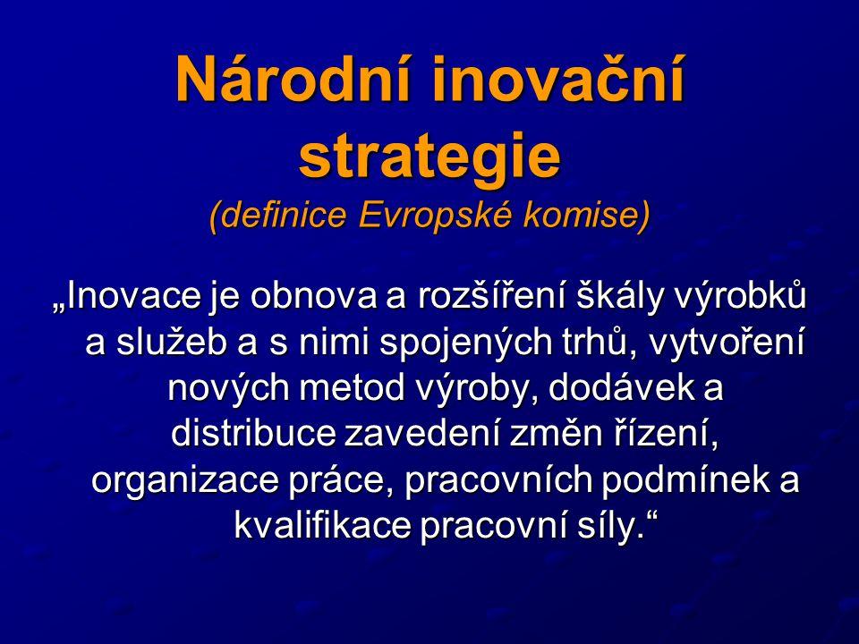 """Národní inovační strategie (definice Evropské komise) """" Inovace je obnova a rozšíření škály výrobků a služeb a s nimi spojených trhů, vytvoření nových metod výroby, dodávek a distribuce zavedení změn řízení, organizace práce, pracovních podmínek a kvalifikace pracovní síly."""