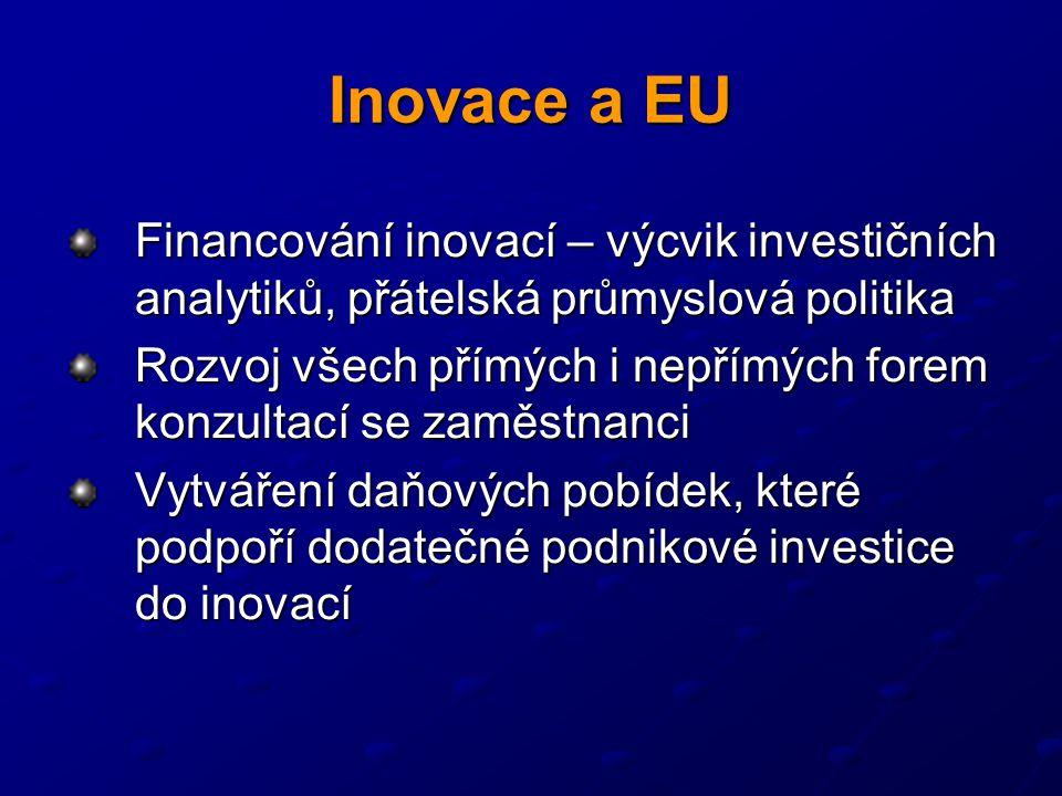Inovace a EU Financování inovací – výcvik investičních analytiků, přátelská průmyslová politika Rozvoj všech přímých i nepřímých forem konzultací se zaměstnanci Vytváření daňových pobídek, které podpoří dodatečné podnikové investice do inovací
