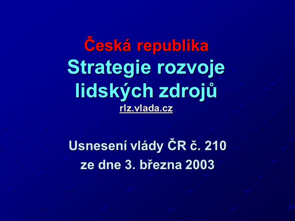 Česká republika Strategie rozvoje lidských zdrojů rlz.vlada.cz rlz.vlada.cz Usnesení vlády ČR č.