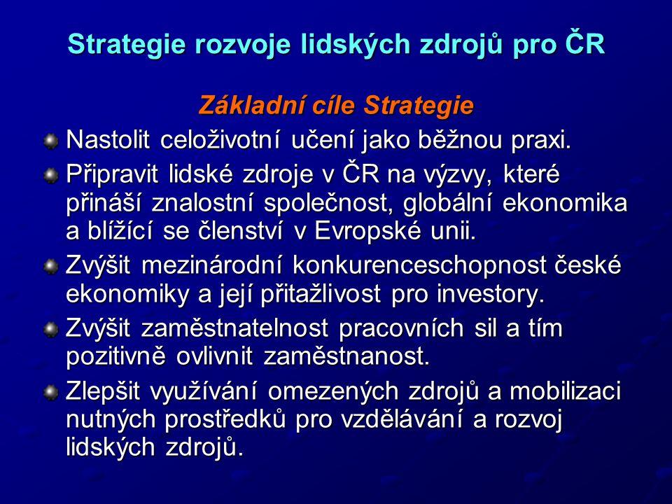 Strategie rozvoje lidských zdrojů pro ČR Základní cíle Strategie Nastolit celoživotní učení jako běžnou praxi.