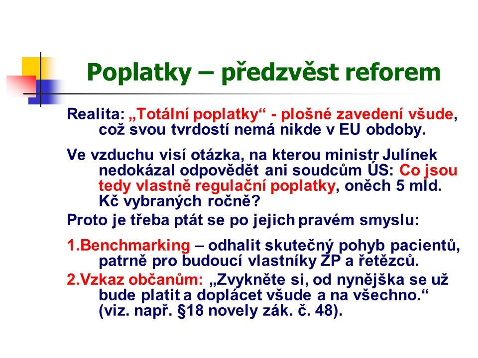 """Poplatky – předzvěst reforem Realita: """"Totální poplatky"""" - plošné zavedení všude, což svou tvrdostí nemá nikde v EU obdoby. Ve vzduchu visí otázka, na"""