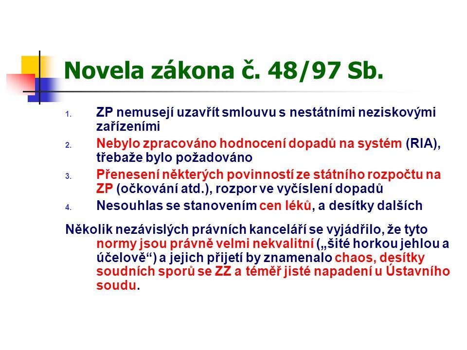 Novela zákona č. 48/97 Sb. 1. ZP nemusejí uzavřít smlouvu s nestátními neziskovými zařízeními 2. Nebylo zpracováno hodnocení dopadů na systém (RIA), t