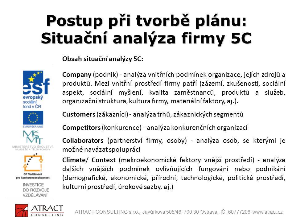 Obsah situační analýzy 5C: Company (podnik) - analýza vnitřních podmínek organizace, jejích zdrojů a produktů. Mezi vnitřní prostředí firmy patří (záz