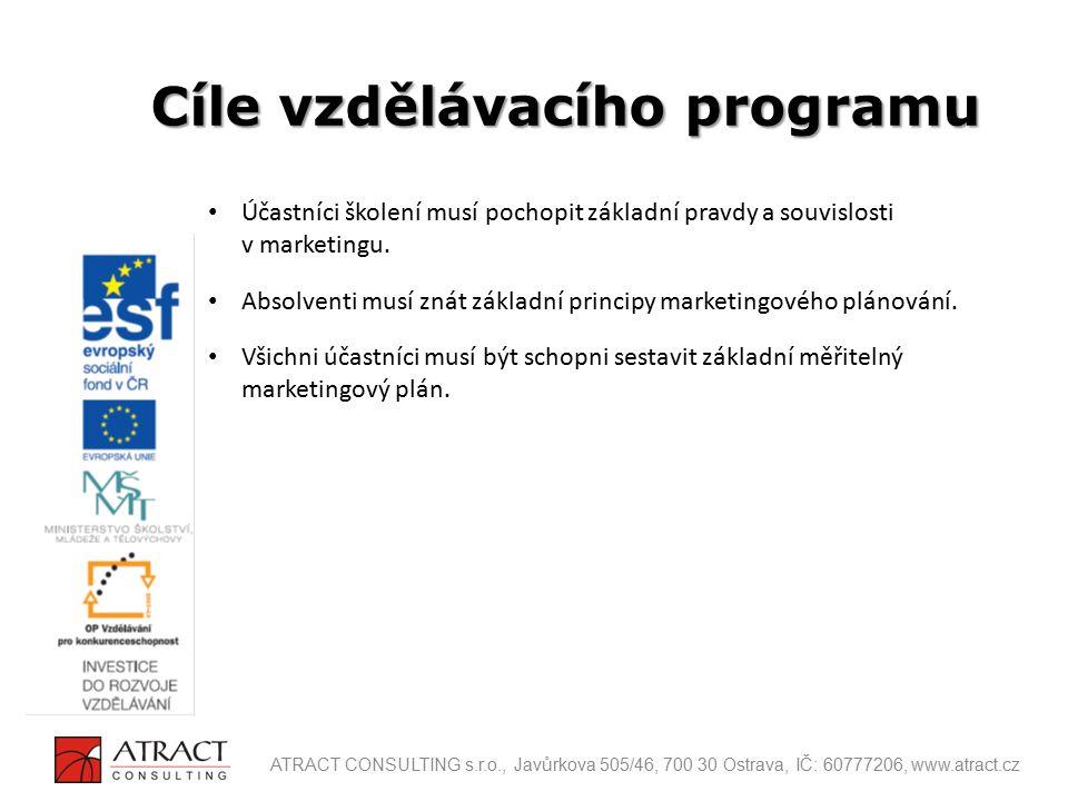 Segmentace trhu (Koho máme na trhu a jak se chová jak vypadá?) Targeting (Koho jsme vybrali jako cílového zákazníka?) Positioning (Jak chceme aby náš produkt nebo službu vnímali zákazníci?) Postup při tvorbě plánu: výrobek a zákazník ATRACT CONSULTING s.r.o., Javůrkova 505/46, 700 30 Ostrava, IČ: 60777206, www.atract.cz