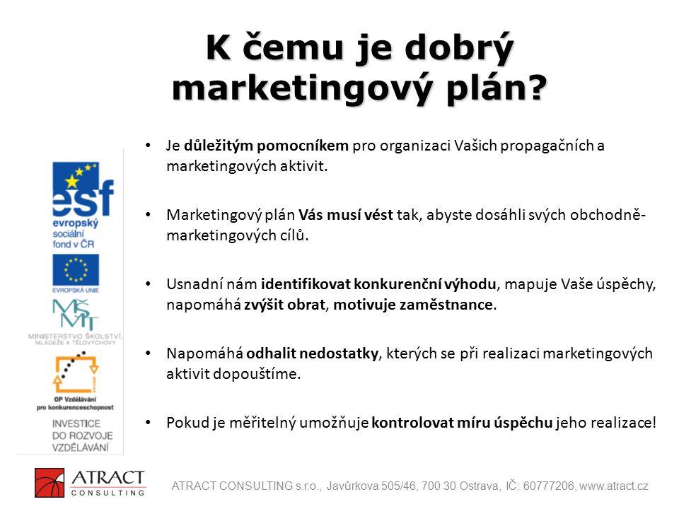 Akční plán: Popis jednotlivých dílčích aktivit marketingového plánu, které mají zajistit dosažení cílů.