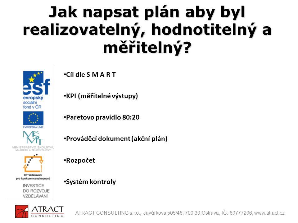 Cíl dle S M A R T KPI (měřitelné výstupy) Paretovo pravidlo 80:20 Prováděcí dokument (akční plán) Rozpočet Systém kontroly Jak napsat plán aby byl rea