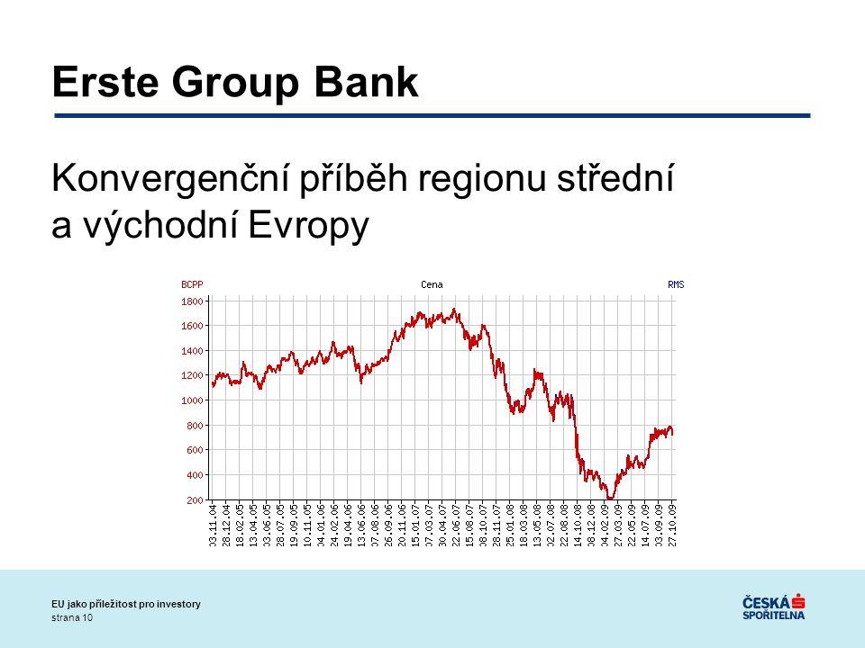 strana 10 EU jako příležitost pro investory Erste Group Bank Konvergenční příběh regionu střední a východní Evropy