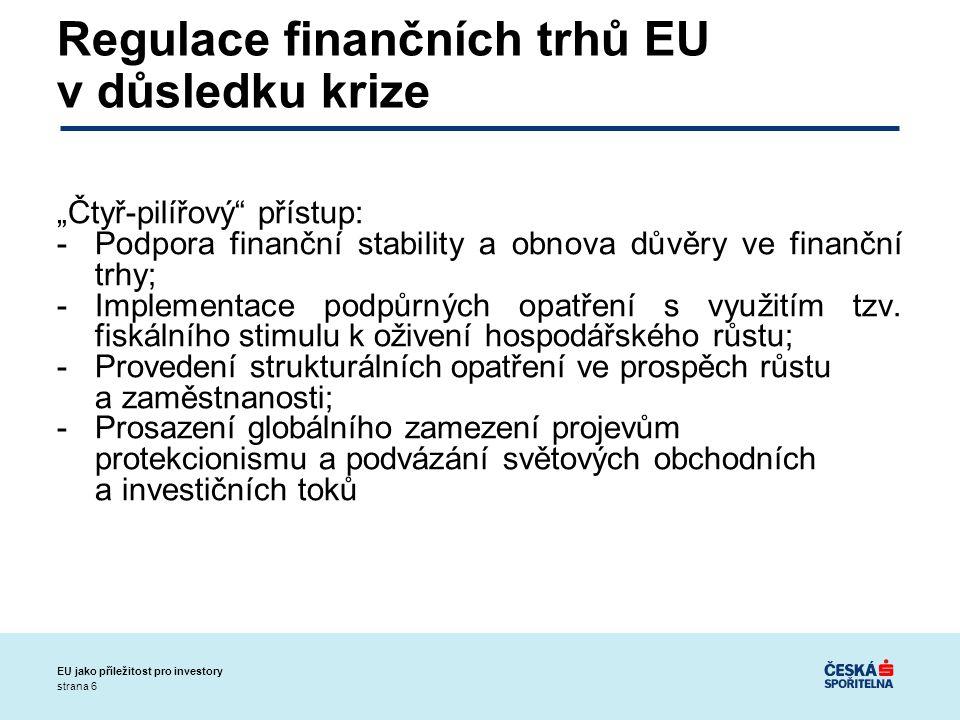 """strana 6 EU jako příležitost pro investory Regulace finančních trhů EU v důsledku krize """"Čtyř-pilířový přístup: -Podpora finanční stability a obnova důvěry ve finanční trhy; -Implementace podpůrných opatření s využitím tzv."""