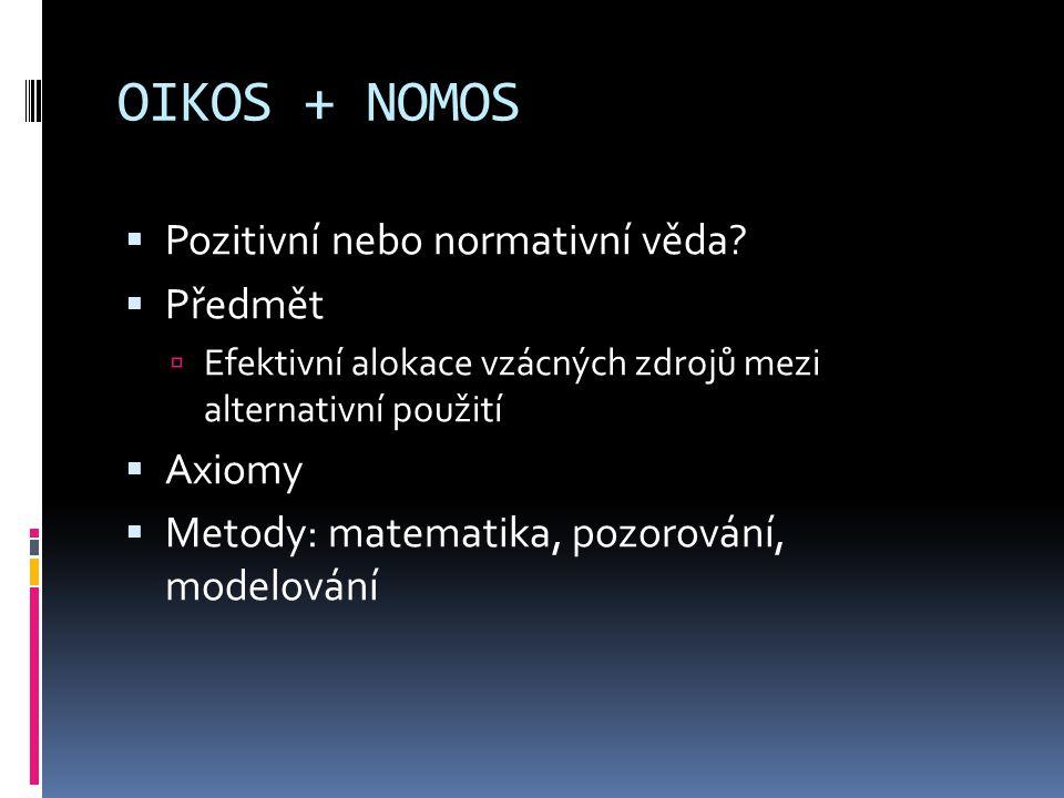 OIKOS + NOMOS  Pozitivní nebo normativní věda?  Předmět  Efektivní alokace vzácných zdrojů mezi alternativní použití  Axiomy  Metody: matematika,